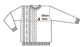 Size Chart indicating Chest Measurement Required
