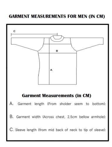 Men's Size Chart picture for Norwegian Sweaters and Cardigans
